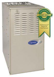 "Carrier HVAC system and ""Best Buy"" award badge"